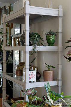 Plantes sur le côté de l'étagère | Une étagère vitrée pour le salon : 1er essai de relooking de meuble au pistolet HVLP