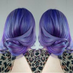 Soft, casually coiffed modern chignon by @hairbymisskelly Purple hair Purple color melt Vivid hair hotonbeauty.com