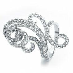 Art Deco Swirl CZ Diamond Fashion Cocktail Ring