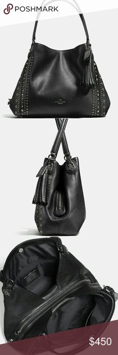 Coach Bandana Rivets Edie NWT black pebble leather Coach Bags