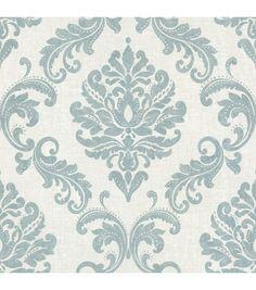 Sebastion Aqua Damask Wallpaper. Perfect for the inside face of my built-in bookshelves.