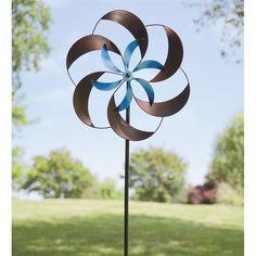 Beautiful Two Tone Pinwheel Metal Garden Spinner | Wind Spinners U0026 Whirligigs