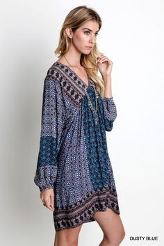 V-Neck Wide Fit Peasant Dress - Dusty Blue - Knitted Belle Boutique  - 1