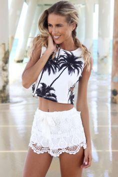SABO SKIRT Milla Crochet Shorts - Off White - 58.0000