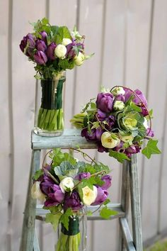 cabbage and purple tulip bouquet