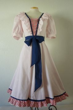 1970's Sailor dress with red polka dots puff sleeves and