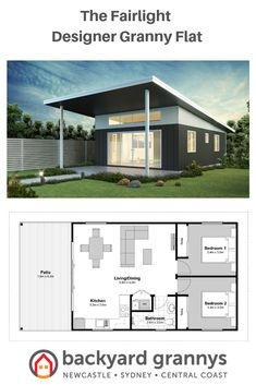 This spacious 2 bedroom granny flat design features a raked ceiling with highlight windows. This designer granny flat has been created for lovers of indoor/outdoor living. This granny flat floor plan is most appealing for a standard sized block. Small House Floor Plans, Dream House Plans, Cottage House Plans, Cottage Homes, Granny Flat Plans, House With Granny Flat, Mini Chalet, Mother In Law Cottage, Granny Pods