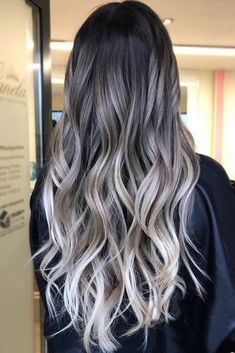Trendy Hair Color : Grey ombre hair is one of the most influential recent color trends. - - Ihr Trend Trendy Hair Color : Grey ombre hair is one of the most influential recent color trends. Pick the one… - Site Today Grey Balayage, Hair Color Balayage, Hair Highlights, Haircolor, Bayalage, Cabelo Ombre Hair, Grey Ombre Hair, Brown To Grey Hair, White Ombre