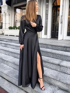 Simple Formal Dresses, Formal Dresses With Sleeves, Black Satin Dress, Satin Dresses, Couture Dresses, Fashion Dresses, Dress Outfits, Plain Dress, The Dress