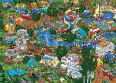 Happy Campers by Steve Skelton Busy Images, 2000 Piece Puzzle, Puzzle Pieces, Murals Your Way, Puzzle Art, Puzzle 1000, Hidden Pictures, Cartoon Art Styles, Picture Description
