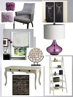 LOVE the purple and gray colors together. Mixed with some white cabinets, a gray island and purple accents? Yes please.