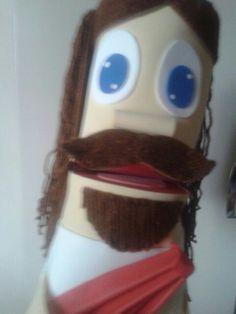 Fantoche Jesus feito de papelão e eva