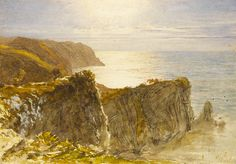 Samuel Palmer View on the Devon Coast. Watercolour over pencil heightened with touches of bodycolour, 7 ¼ by 10 ½ in. x 269 mm). Photo: Courtesy of Guy Peppiatt. Landscape Art, Landscape Paintings, English Romantic, Devon Coast, English Artists, British Artists, Joseph Mallord William Turner, Witch Art, Old Master