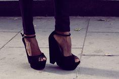 Ankle strap platform wedges.