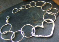 Open Heart hand stamped sterling silver by cinnamonsticks on Etsy, $75.00