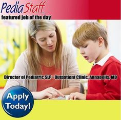 We have a wonderful Speech-Language Pathologist pediatric clinic opportunity in the Annapolis area. This is a full-time, direct-hire position * The SLP will service children (and some adults) from birth and up in an outpatient clinic setting. * Common diagnoses at the clinic include Autism, CP, Developmental Delay, and Ortho * This is a brand new facility with a state-of-the-art gym, as well as private treatment rooms. - click here for to learn more about this job and all our jobs