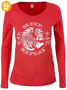 Damen Langarmshirt A Cat's Life Eat, Sleep, Eat, Repeat koralle (*Partner-Link)