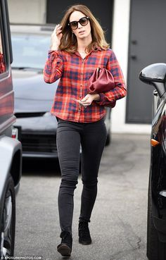 Love the plaid! Emily Blunt was photographed leaving Meche hair salon in Beverly Hills