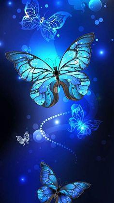 Neon Night Butterfly Theme | Blue Butterfly Wallpaper