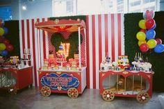 Circus Train Tables from a Mickey Mouse Circus Birthday Party via Karas Party Ideas 39 Circus Carnival Party, Circus Theme Party, Carnival Birthday Parties, Circus Birthday, Birthday Party Themes, 2nd Birthday, Birthday Ideas, Cirque Vintage, Vintage Carnival