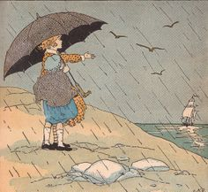 "'Rain image' by L.K. Deal for ''Rain'' by RLS -   ""The rain is raining all around, It falls on field and tree, It rains on the umbrellas here, And on the ships at sea."" poem by Robert Louis Stevenson"