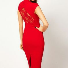ASOS Sexy Pencil Dress with Lace Sexy and sophisticated, fitted pencil dress with lace insert on back. Perfect for Valentine's Day or just making a statement in hot red <3 Never worn, a bit too snug for me. Very fitted, but has some stretch. ASOS Dresses Midi