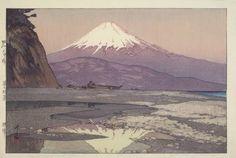 """Hiroshi YOSHIDA (1876-1950) - Shin Hanga. """"Fujiyama from Okitsu""""  (""""Okitsu""""). Circa 1928. 9-5/8"""" x 14-3/4""""."""