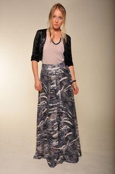 Bronte Velvet Jacket, tan tank, patterned maxi skirt