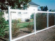 Wire Fence with Painted Wood Posts backyard design d. Wire Fence with Hog Wire Fence, Deer Fence, Front Yard Fence, Farm Fence, Pool Fence, Backyard Fences, Fence Gate, Garden Fencing, Fence Panels