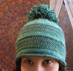 d7aff4c3489a2 Free Knitting Pattern for Herringbone Hat - Beanie with stretchy  herringbone stitch. Designed by Kelly McClure.