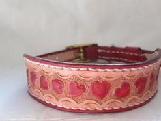 Small tooled leather dog collar with hearts by AcrossLeather, $64.50