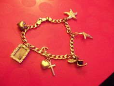 VINTAGE STERLING SILVER CHARM BRACELET FAIRY FAITH CHARMS CURB LINK CHAIN #Unbranded