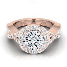 14k Rose Gold 1 3/4ct TDW Round Diamond Halo Engagement Ring (H-I, VS1-VS2) (Size - 10.5), Women's