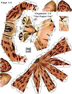 Megabyte Free Paper Toy Cat  - Pattern A