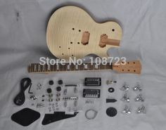 [Visit to Buy] DIY LP Guitars Mahogany Body Unfinished Electric Guitar Kit With Flamed Maple Top  Dual Humbuckers #Advertisement
