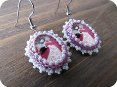 Heart Girl Cabochon Beaded Earrings from Lilybiju by DaWanda.com