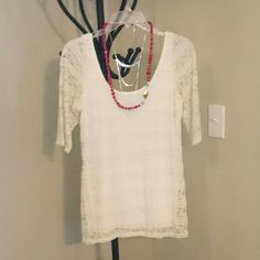 Sale! Cream Lace Blouse Cream Lace Blouse. Lined. 4th picture is of back. Wet Seal. Size Large but fits like a medium. Fitted. Wet Seal Tops Blouses