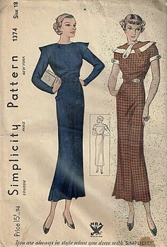 Simplicity 1374 | ca. 1934 Misses' Dress NRA