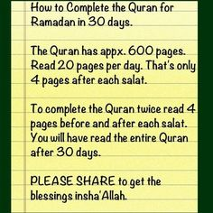 Simplest and easy way to complete Quran during Ramadhan or any other months.    Like - Repin - Spread