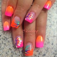 Ideas Nail Art Designs Summer 2014 Hot pink and orange is one of my favorite combos. #summernaildesigns