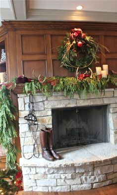 Equestrian Christmas! Bridle hanging from fireplace mantel