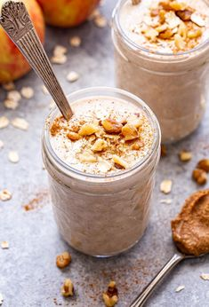 Apple Cinnamon Smoothie - Recipe Runner Oatmeal Cookie Smoothie, Apple Cinnamon Smoothie, Oatmeal Cookies, Cinnamon Apples, Breakfast Smoothies, Smoothie Recipes, Pudding, Sugar, Meals