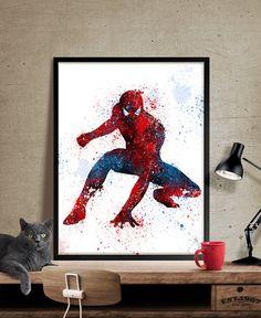 Spiderman Art Print, Watercolor Art, Superhero Wall Art, Spiderman Poster,Spiderman Birthday Poster Room Decor- Art, Wall Art, Home Decor, Art