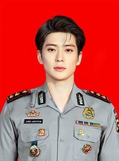 Jung Jaehyun as Indonesian police Taeyong, Jaehyun Nct, Winwin, Nct 127, Kpop, Image Meme, Id Photo, Jung Jaehyun, Marriage Life