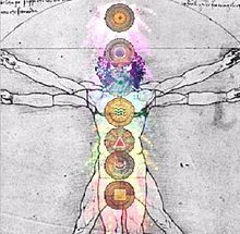 Chakra - The chakras are described as being aligned in an ascending column from the base of the spine to the top of the head. New Age practices often associate each chakra with a certain color.   Wikipedia, the free encyclopedia