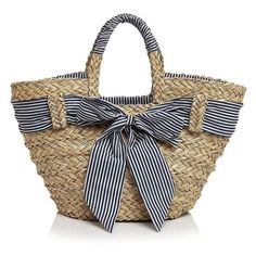 Straw tote ❤ liked on Polyvore featuring bags, handbags, tote bags, straw tote handbags, purse tote bag, stripe tote, straw tote and handbags totes