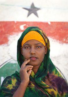 Portrait Of Cute Teenage Girl Wearing Qasil On Her Face - Berbera Somaliland