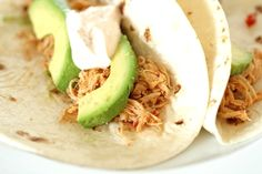 Crockpot Chicken Tacos with Chipotle Cream