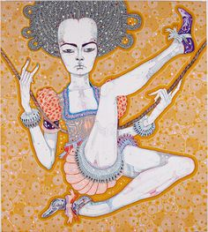 Del Kathryn Barton to look at your hands, acrylic, gouache, watercolour and ink on polyester canvas; Del Kathryn Barton, Australian Art, Watercolor And Ink, Contemporary Paintings, Gouache, Surrealism, Disney Characters, Fictional Characters, That Look