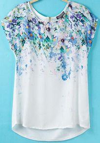 White Short Sleeve Floral Dipped Hem T-Shirt